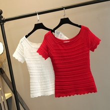Ice silk knitted shirt slim, tight, short sleeve t-shirt. Summer one-collar, short, thin pullover, solid-color undercoat