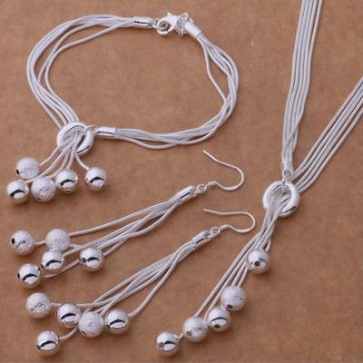 925银饰 磨砂光珠手链 项链 耳环 银套装 【金橡珠宝】包邮银饰品