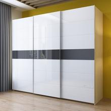 现代简约烤漆推拉门衣柜品质型整体组装板式白色趟门滑门大衣橱