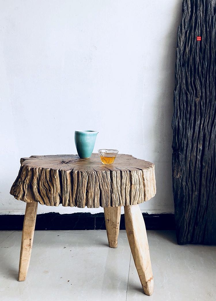 沙发小边几 卧室圆形边角几客厅原木小茶几小户型茶台 枯木小茶桌