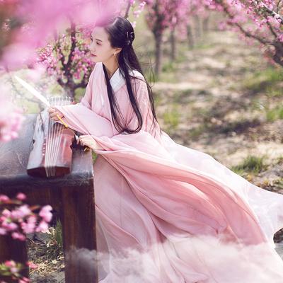 棉麻记2018夏装新款复古汉服长裙飘带大摆修身连衣裙大广袖女裙子