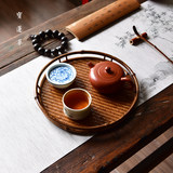 Ming style Meilu bamboo round plate Handmade large paint mat tray Bamboo dish tea set storage tray dry bubble dish tea tray