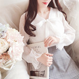 2019 spring and summer new Korean version of the white fairy temperament long-sleeved princess bow chiffon shirt top blouse
