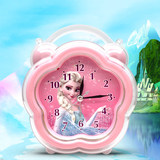 Ice and Snow Qiyuan Silent Alarm Clock Children Cartoon Lovely Bedroom Bedside Student Fashion Music Nightlight Small Alarm Clock