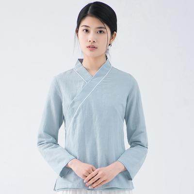 二喜茶服女旗袍上衣复古改良棉麻汉服日常中国风禅服中式茶人服