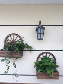碳化防腐壁挂实木花盆墙壁装饰花篮阳台挂壁绿植种植箱造园小品