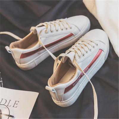 韩国ulzzang运动小白鞋女秋冬学生平底板鞋米白色防水皮面帆布鞋