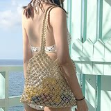 Mimoi Vintage knitting rope inswind hollow hand knitted shoulder bag beach bathing suit travel bag