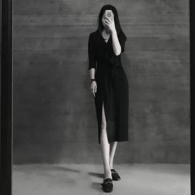 气质v领赫本黑裙女春夏2019新款雪纺连衣裙复古开叉法式仙女长裙