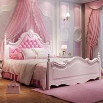 韩式儿童床 女孩公主床 粉色1.5米欧式单 双人床实木小孩床软包