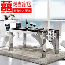 现代简约大理石餐桌椅组合6人不锈钢钢化玻璃欧式4人大小户型方桌