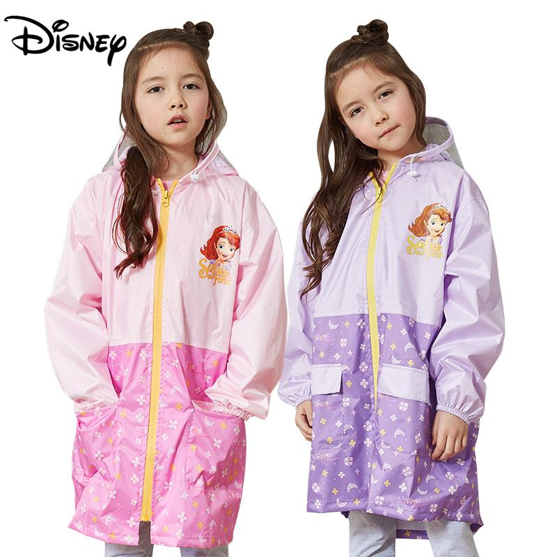 苏菲亚公主儿童雨衣 女童幼儿园小学生防水女孩带书包位 宝宝雨披
