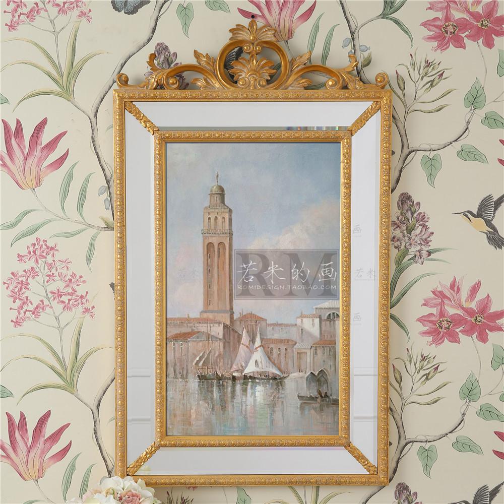 100*60美式欧式装饰镜美式卫生间卫浴室镜化妆桌挂镜金银色玄关镜