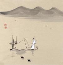 门香纯手绘客厅书房茶楼装饰画一尺小品禅意字画文人雅士T14