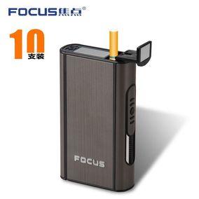 焦点创男士个性烟盒便携式10支装自动弹烟全封闭塑料金属拉丝烟盒
