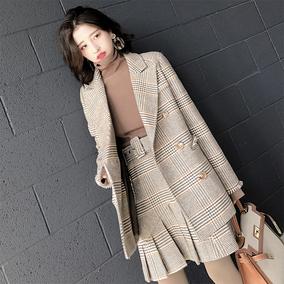 大喜自制2018春装千鸟格西装领毛边中长羊毛呢子大衣女百褶半身裙
