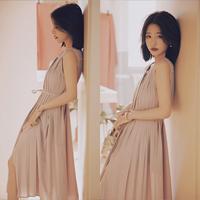 中长款显瘦百褶连衣裙