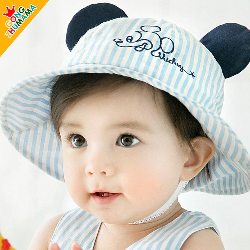 婴儿帽子春夏女宝宝帽0-3-6-12个月盆帽遮阳帽夏防晒帽渔夫帽春秋