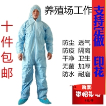 Farming factory disposable overalls food conjoined with cap protective clothing isolation visiting clothing breathable body epidemic prevention clothing