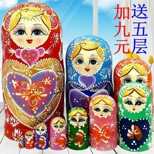 俄罗斯套娃十层正品 创意礼品10层 纯手工木制品 抖音玩具摆件椴木