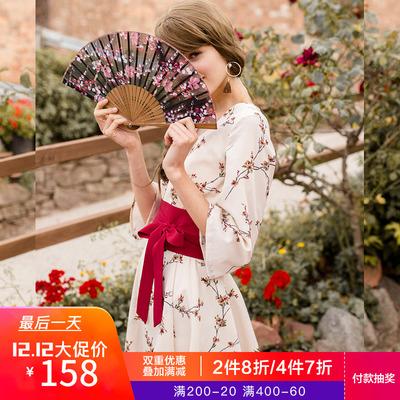 linjou玲玖2018秋季原创甜美复古风汉服汉元素七分袖雪纺连衣裙女