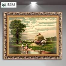 饰画沙发背景墙画有框玄关挂画壁画可定制风景 绿牌欧式油画客厅装