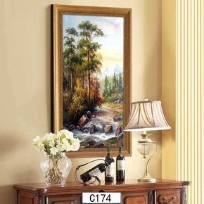 欧式客厅装饰画美式卧室挂画玄关壁画过道走廊相框风景有框油画竖
