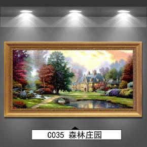 绿牌美式风景装饰画客厅欧式沙发背景墙油画床头挂画简欧风格壁画