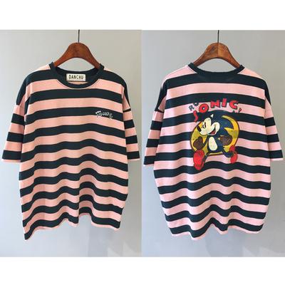 韩国东大门代购女装19夏季新款潮danchu宽松条纹卡通纯棉短袖T恤