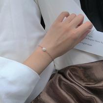 一颗天然淡水珍珠手链女日韩简约百搭款甜美气质闭眼入的手饰S172