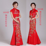 2019 new long section of red brocade wedding dress costumes bride fishtail dress toast clothing spring QP1823