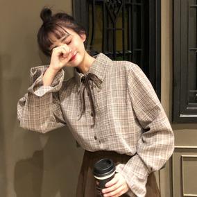 2018新款韩版宽松少女格子衬衫女设计感小众洋气长袖心机上衣衬衣
