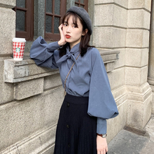 韩版 衬衣设计感小众上衣秋冬复古少女衬衫 宽松长袖 春季2019新款