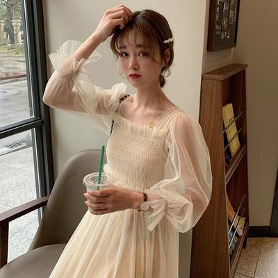很仙的连衣裙女春装2019新款春秋裙子韩版早春网纱裙吊带裙两件套