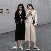 韩版 宽松复古小众长袖 裙子针织气质连衣裙女潮学生 秋装 2019年新款图片
