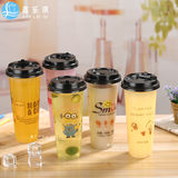 Disposable plastic cup tea cup 700ML thickening 90 mouth iron smiley juice cold drink cup custom