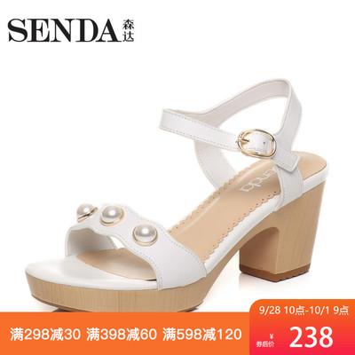 Senda/森达夏秋专柜同款时尚甜美女露趾中粗跟高跟凉鞋G3O13BL7