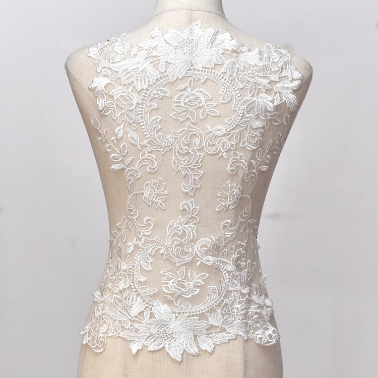 超宽棉线刺绣蕾丝贴花辅料手工diy材料婚纱礼服背部装饰软网面料
