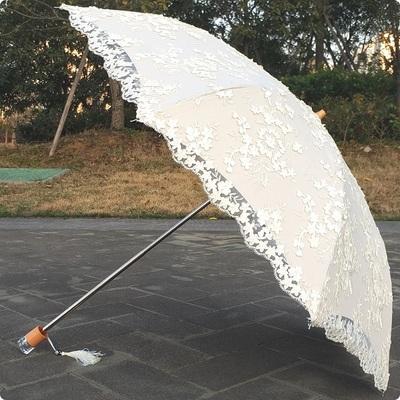 蕾丝二折刺绣花黑胶防紫外线遮阳防晒纯白色公主太阳伞晴雨伞洋伞
