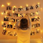 悬挂墙明信片照片墙装饰创意挂墙麻绳夹子无痕钉房间小清新相片墙