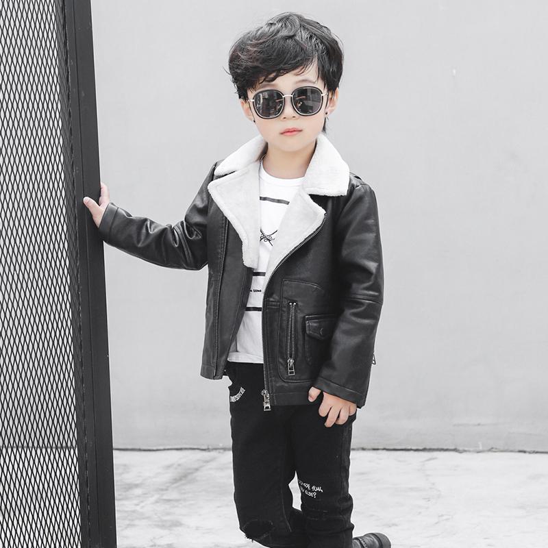 童装男童加绒厚春秋夹克2018男孩外衣韩版帅气新款儿童皮衣外套潮