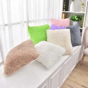 飘窗装饰毛绒纯色飘窗抱枕汽车大靠垫床头靠枕垫榻榻米含芯可拆卸
