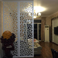 Custom solid wood partition screen hollow European style lattice ceiling wall modern MDF carved flower plate