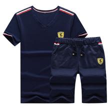 夏季男装短袖运动套装男青年V字领半袖男体恤上衣五分裤两件套男T