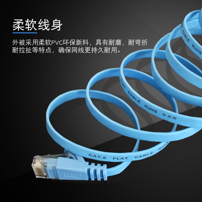 双喜鹊六类扁平电脑网线6类千兆网络跳线1m2m3m5m10m20m30m米高速