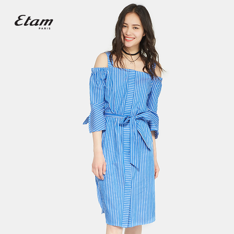 艾格Etam夏新款时尚条纹系带一字肩吊带七分袖连衣裙17012206847