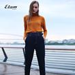 艾格Etam2017冬季简约纯色明线修身七分裤女8A012003540