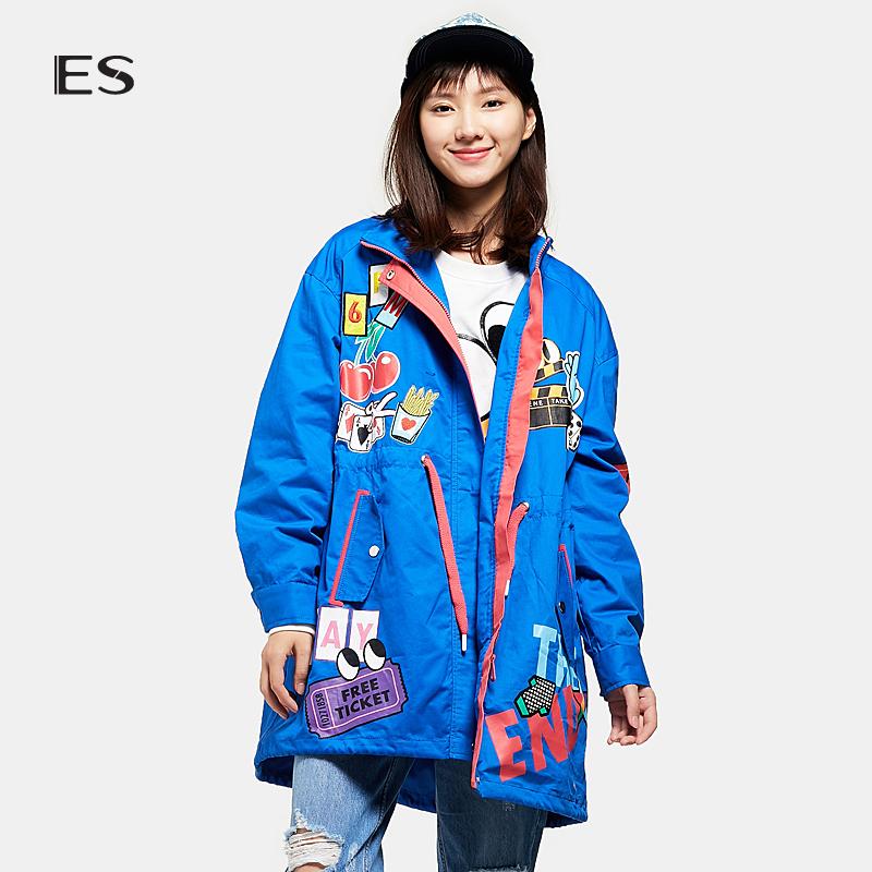 艾格ES时尚个性趣味卡通印花休闲中长款风衣外套女17033402142