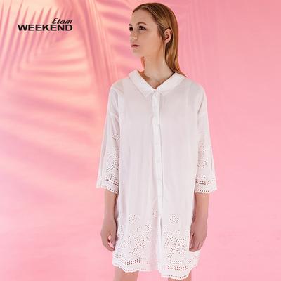 艾格Weekend夏季纯色森系镂空翻领九分袖短款连衣裙17022209886