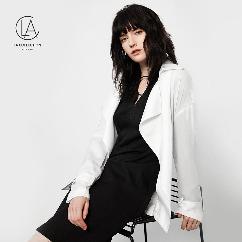 艾格LA COLLECTION 2018夏新款纯色长款大衣风衣女8E012108186